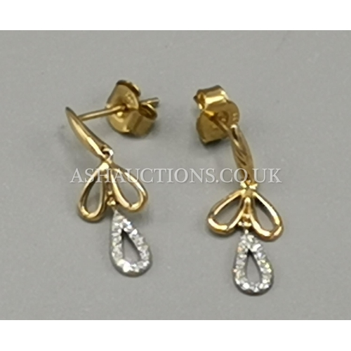 57 - PRESENTED AS A PAIR OF 9ct GOLD (375) DIAMOND SET EARRINGS...