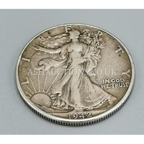 59 - PRESENTED AS A 50% SILVER HALF DOLLAR 1942 WALKING LIBERTY...