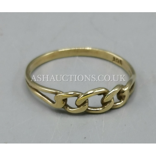 15 - PRESENTED AS A 9ct GOLD LINKS RING...