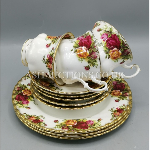 15A - ROYAL ALBERT CHINA TRIOS (3) & 2 SPARE SAUCERS IN THE OLD COUNTRY ROSES DESIGN...
