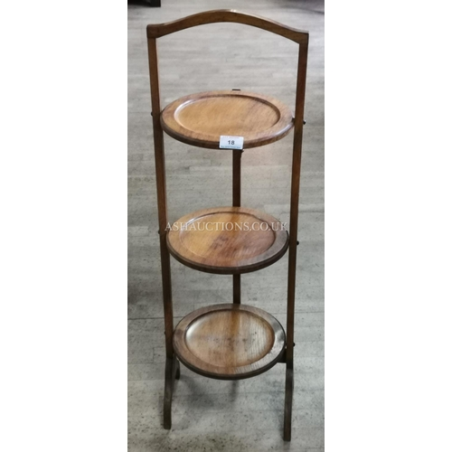 18 - SATINWOOD THREE TIER CAKE STAND (Please Note This Lot Will NOT Be POSTED!!! ,Pick Up ONLY !!!!!)...