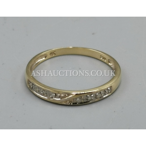20 - PRESENTED AS A 9ct GOLD EIGHT DIAMOND STONED RING...