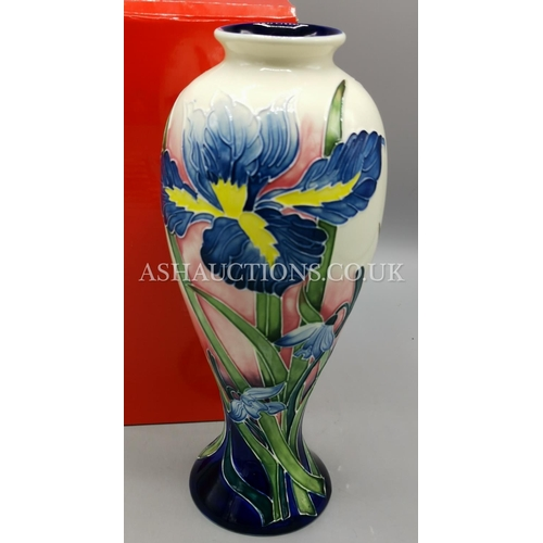 29 - OLD TUPTON WARE Large 30cm TUBELINED BALLOON VASE IN THE IRIS FLOWER DESIGN (Boxed)...