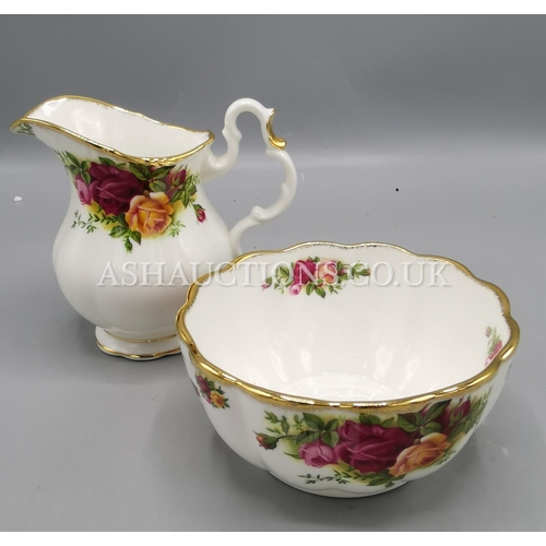 40A - ROYAL ALBERT CHINA SUGAR BOWL & CREAM JUG IN THE OLD COUNTRY ROSES DESIGN...
