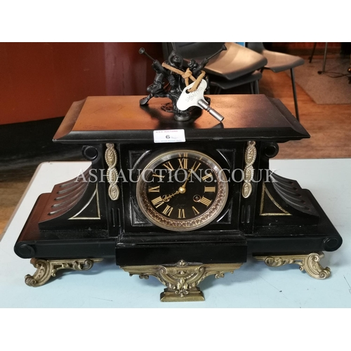 6 - FRENCH MARBLE And BRASS CLOCK (With Key And Pendulum)(Please Note This Lot Will NOT Be POSTED!!! ,Pi...