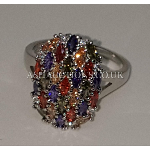 95A - PRESENTED AS A SILVER (925) MULTI STONED RING (Size T)...