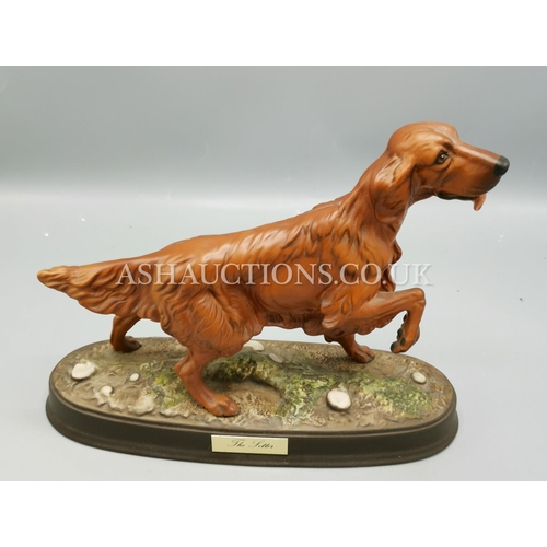 30 - ROYAL DOULTON Large MODEL OF A RED SETTER  ON A WOODEN PLYNTH...