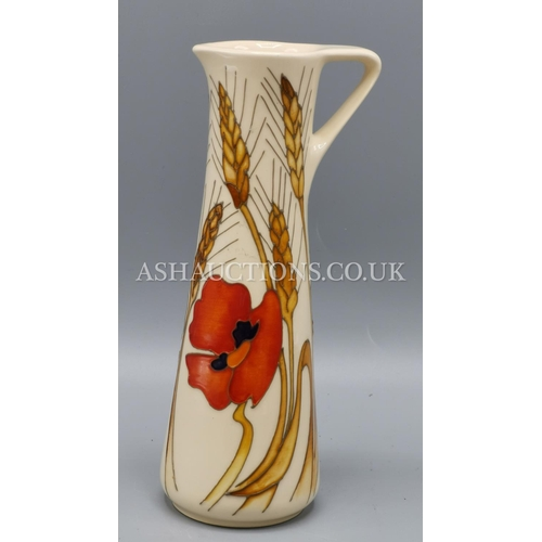 10A - MOORCROFT 19cm JUG IN THE  HARVEST POPPY DESIGN. By Designer By Emma Bossons....