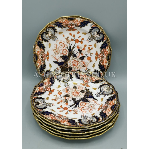 11 - ROYAL CROWN DERBY CHINA VICTORIAN PLATES (6) IN THE IMARI DESIGN...