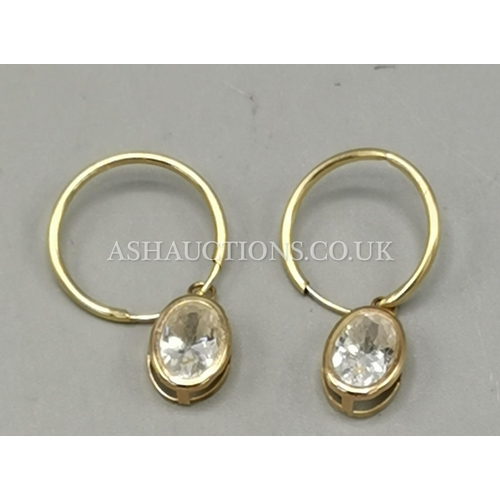 81 - PRESENTED AS A PAIR OF 9ct GOLD  CRYSTAL DROP EARRINGS...