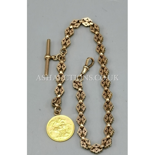85A - PRESENTED AS A 9ct GOLD WATCH CHAIN With HALF SOVEREIGN ATTACHED ( TotaL Weight 27.7 Grams )...
