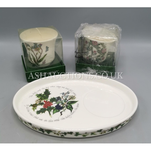 15 - PORTMEIRION CHINA OVAL FLAN DISH Plus  TWO CANDLES (OriginaL Boxes)...