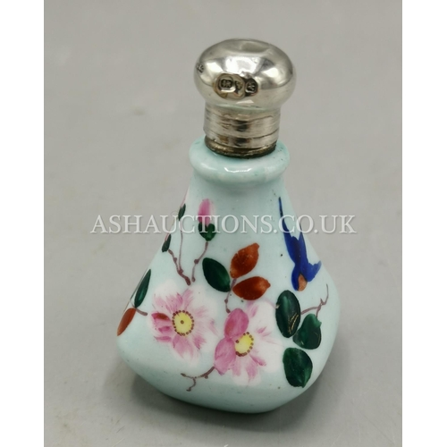 17 - PRESENTED AS A SOLID SILVER/PORCELAIN BIRD PERFUME BOTTLE (Hallmarked For Chester 1913)...