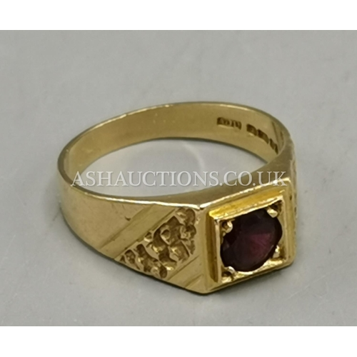 2 - PRESENTED AS A 9ct GOLD GARNET STONE SET RING (Weight 4.50 Grams)...