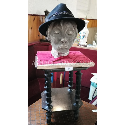 24 - SCULPTERED BOYS HEAD ON EBONY STAND (Please Note This Lot WILL NOT BE POSTED...PICK UP ONLY!!!)...