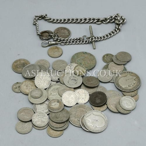 31 - PRESENTED AS SILVER COINS Plus WATCH CHAIN...