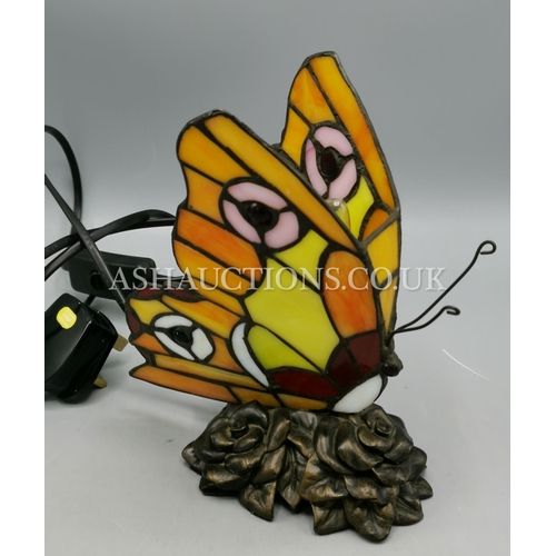 40 - TIFFANY STYLE BUTTERFLY LAMP. (Please Note This Lot WILL NOT BE POSTED...PICK UP ONLY!!!)...