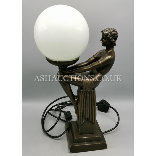 9 - COLD CAST BRONZE ART DECO FIGURINE LAMP With SHADE (Please Note This Lot WILL NOT BE POSTED...PICK U...