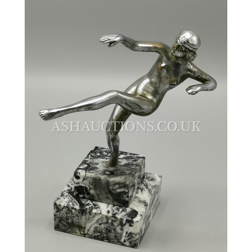 11 - ART DECO FIGURINE MOUNTED ON A MARBLE BASE c1920s (with Fault)...