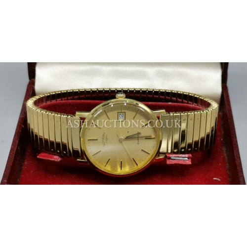 14 - PRESENTED AS A ROTARY CALENDAR WATCH In GOLD METAL (Boxed With Papers)...