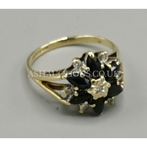 16 - PRESENTED AS A 9ct GOLD (Fully Hallmarked) Large SAPPHIRE And DIAMOND STONE SET RING  (Boxed)...