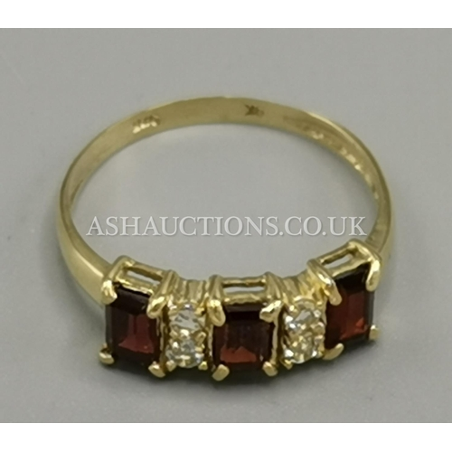 17 - PRESENTED AS A 9ct GOLD GARNET & WHITE TOPAZ  STONE SET RING...