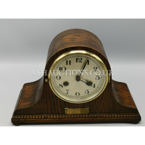 19 - OAK CHIMING PRESENTATION MANTLE CLOCK From SERGEANTS MESS (With Key And Pendulum) (Please Note This ...
