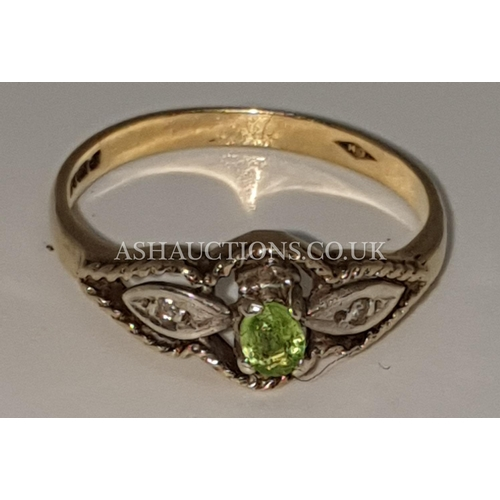 20A - PRESENTED AS A 9ct GOLD (375) (Fully Hallmarked) PERIDOT & DIAMOND STONE SET RING (Weight 2.4 Gram S...