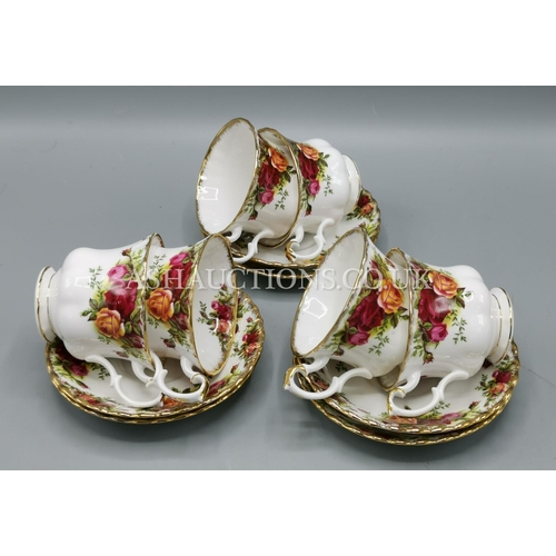 25 - ROYAL ALBERT CHINA CUPS & SAUCERS (6) IN THE OLD COUNTRY ROSES DESIGN...