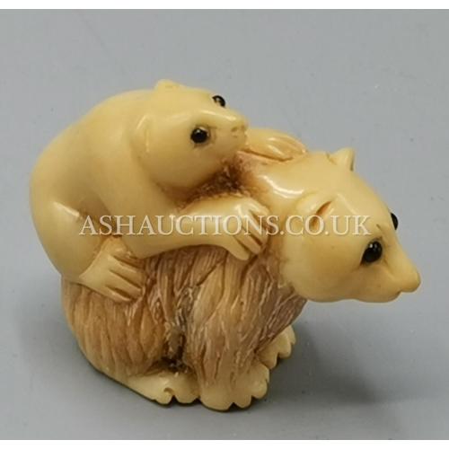28 - CHINESE BEAR & CUB NETSUKI (Signed To Base)...