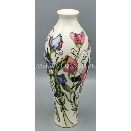 29 - MOORCROFT VASE IN THE SWEETNESS DESIGN By Designer Nicola Slaney.  (With their delightful wisps and ...