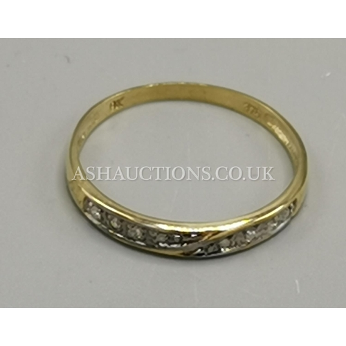 7 - PRESENTED AS A 9ct GOLD EIGHT DIAMOND STONED RING...