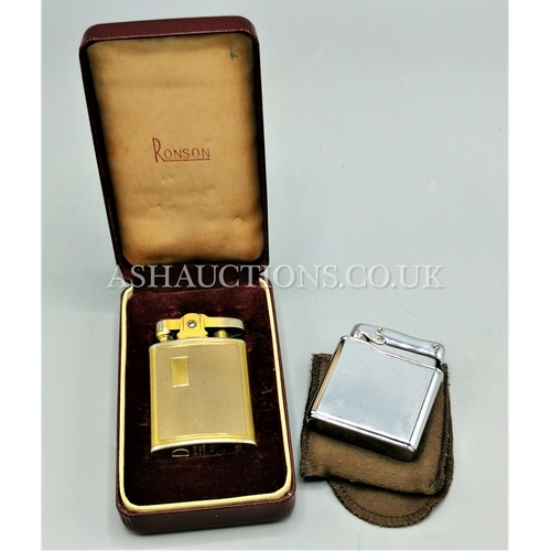10A - RONSON PETROL LIGHTER (Boxed) TOGETHER WITH A COLOBRI GAS LIGHTER & CASE....