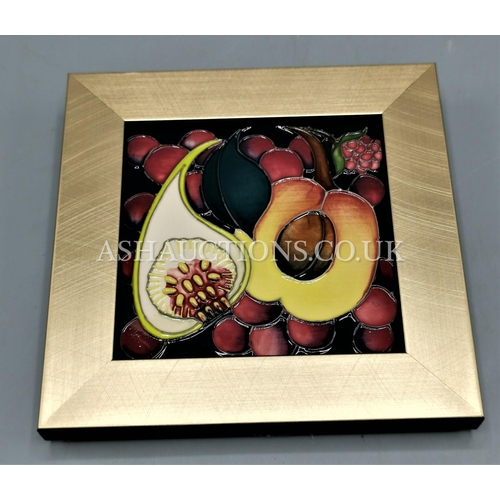 17 - MOORCROFT FRAMED PLAQUE (Shape No PLQ6)  IN THE QUEENS CHOICE DESIGN By Designer Emma Bossons. R.R.P...