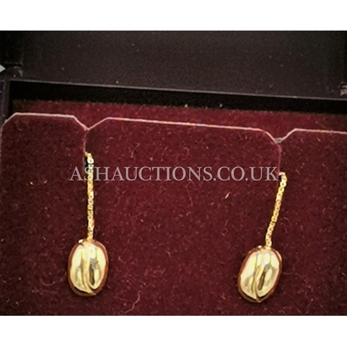 19 - PRESENTED AS A PAIR OF 9ct GOLD COFFEE BEAN EARRINGS....