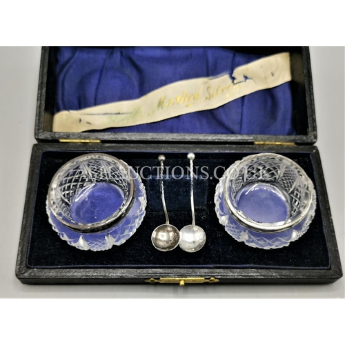 45A - PRESENTED AS SILVER CUT GLASS SALTS With MATCHING SPOONS, 1907 G.E.Walton (Original Box)...