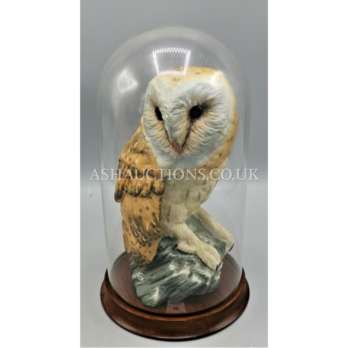 48 - CERAMIC OWL IN GLASS DOME.(Please Note This Lot WILL NOT BE PACKED OR POSTED...PICK UP ONLY AS IS !...