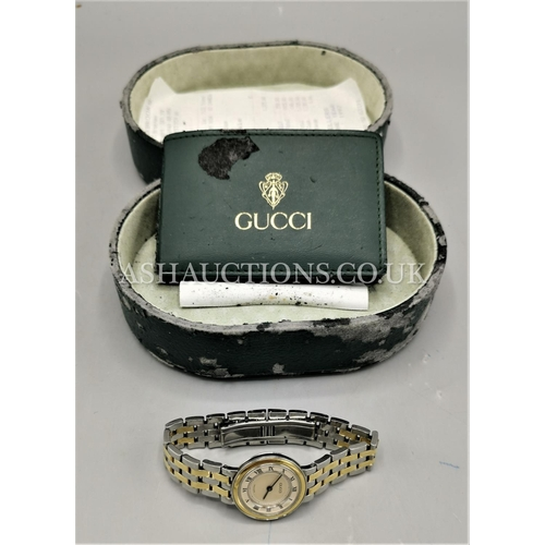 80A - PRESENTED AS A GUCCI SSIMO BI METAL 18ct GOLD BRACELET & BEZEL WATCH (Certificate Papers & Purchase ...