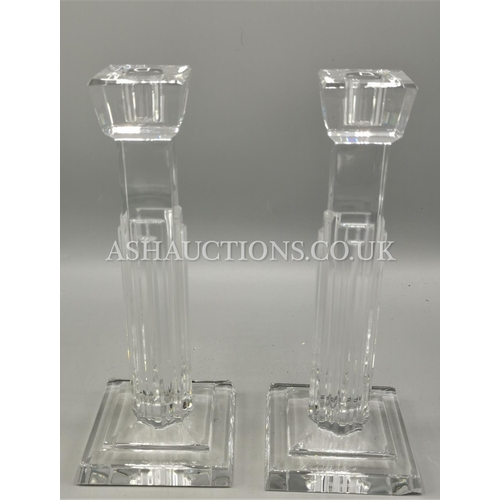 11 - WATERFORD CRYSTAL Large 26cm CANDLESTICKS IN THE METROPOLITAN DESIGN...