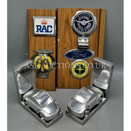 13 - MOTORING ITEMS To Include V.W. BEETLE METAL BOOKENDS,AA BADGES,Etc...