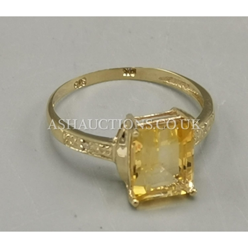 18 - PRESENTED AS A 9ct GOLD 2.8 ct CITRINE & DIAMOND STONE SET RING...