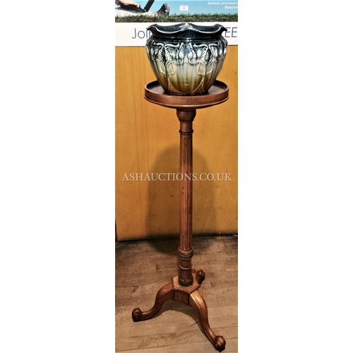 2 - SATINWOOD TORCHE TOGETHER WITH A CERAMIC ART NOUVEAU Large PLANTER  (Please Note this Lot WILL NOT B...