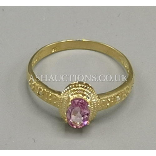 22 - PRESENTED AS A 9ct GOLD PINK TOPAZ & DIAMOND  STONE SET RING...