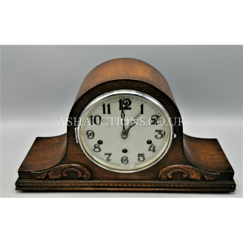 23 - OAK CASED WESTMINSTER CHIMING MANTLE CLOCK (With Key)  (Please Note this Lot WILL NOT BE PACKED OR P...