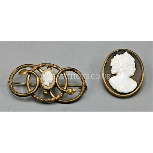 25A - EDWARDIAN PINCHBECK FRAMED CAMEO BROOCHES (2)...