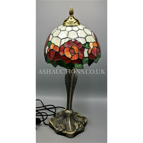 28 - TIFFANY STYLE LAMP. (Please Note This Lot WILL NOT BE PACKED OR POSTED...PICK UP ONLY AS IS !!!)...