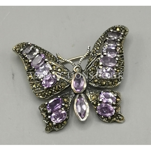 3 - PRESENTED AS A SOLID SILVER (925) AMETHYST MARCASITE STONE SET BUTTERFLY BROOCH...