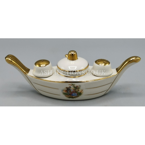 4 - LIMOGES PORCELAIN CONDIMENT SET (Fully Marked) IN THE FORM OF A GONDOLA Even With It's Original Spoo...