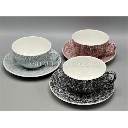 45 - MADDOCK'S CHINTZ BREAKFAST CUPS & SAUCERS (3)...