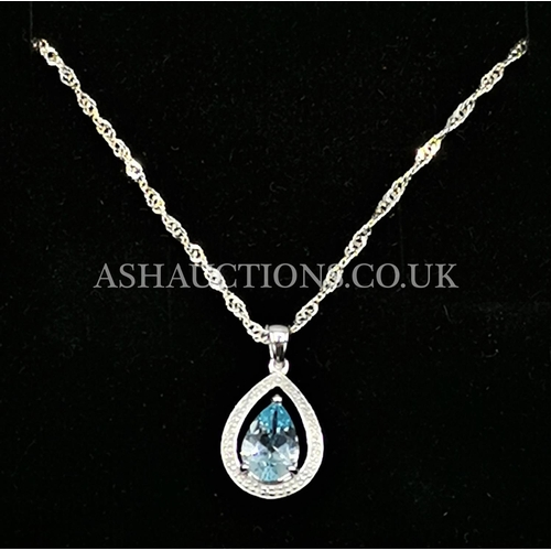 5 - PRESENTED AS A SILVER (925) BLUE TOPAZ /DIAMOND PENDANT On CHAIN (Boxed)...